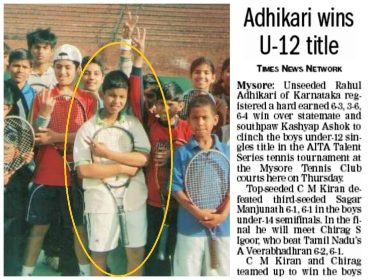 Left: Players selected for the Mission Olympics program in Chandigarh. Rahul was one of the youngest amongst them. Right: Rahul's first All-India Level Tournament win in Mysore.